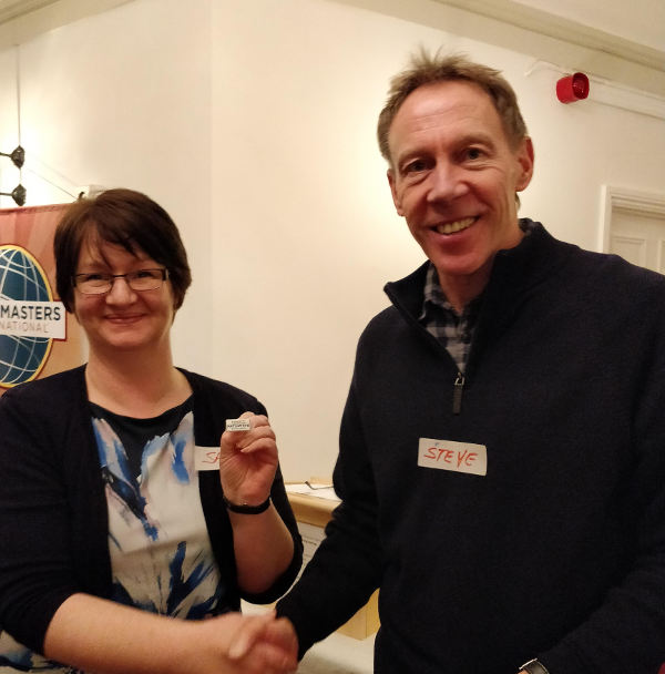 Steve presents Sam with her Pathways pin
