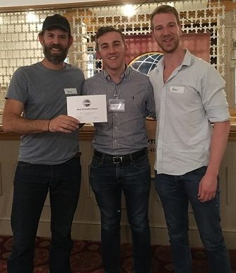 Photo shows Dan Winterbourne receiving his aware for best evaluator, together with Bradley Peters, our President and Peter, our star guest of the night.